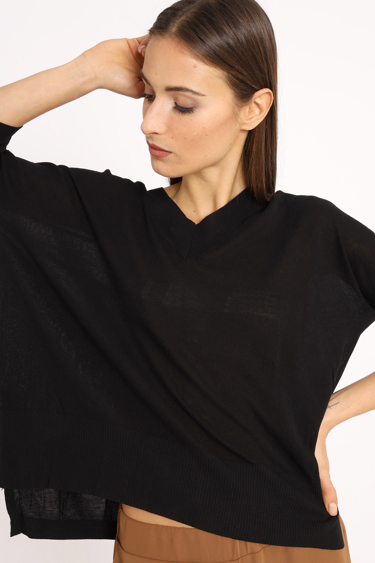 V-Neck Over Viscose Sweater with Slits