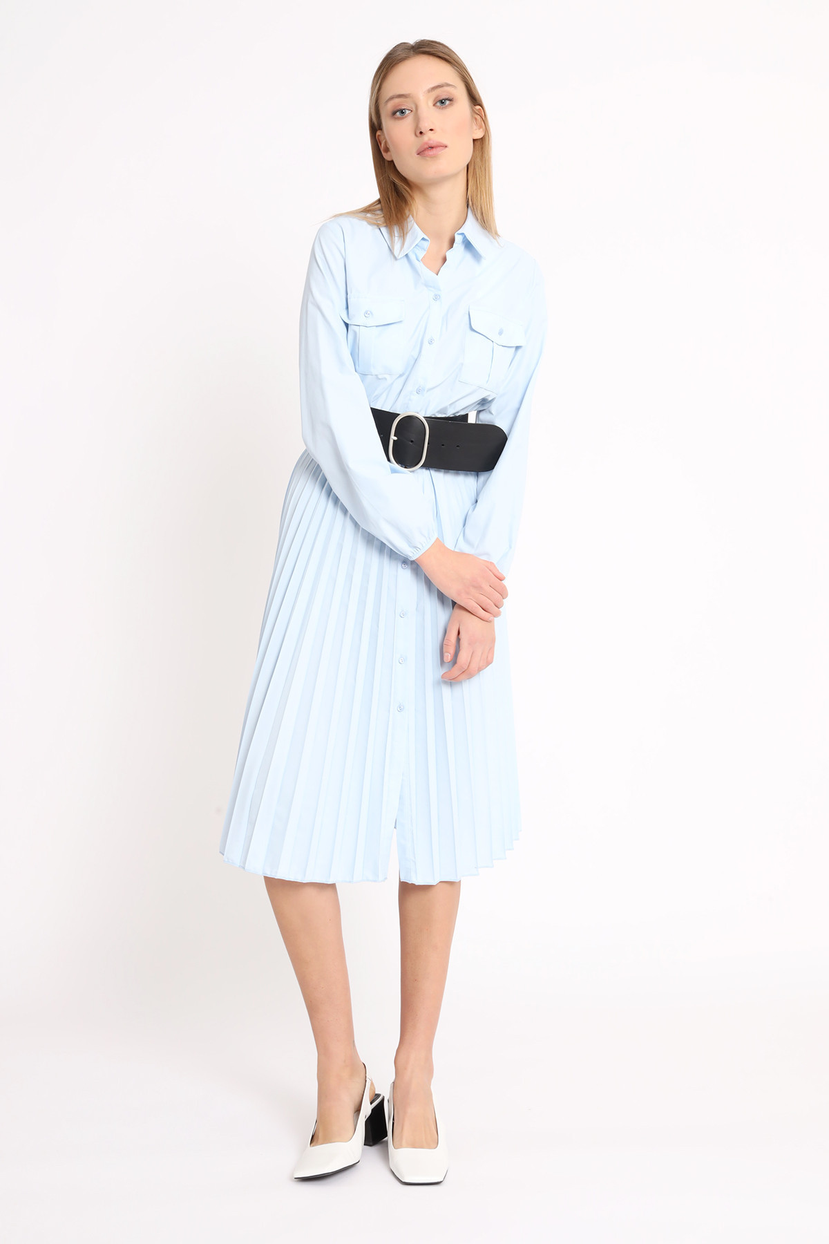 Shirt Dress with Pleated Skirt