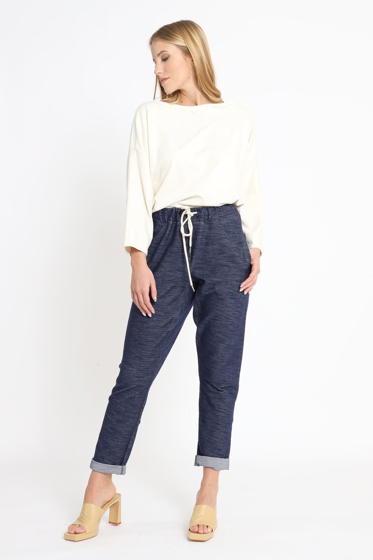 Flamed Cotton Trousers with Rope Drawstring