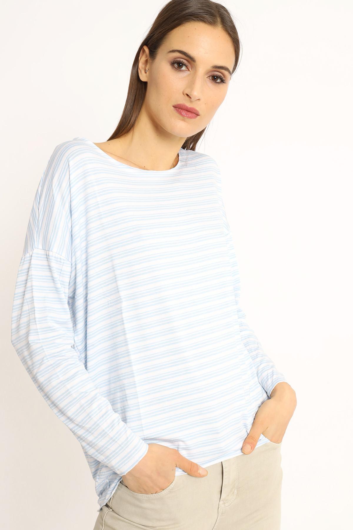 Multi-line Boat Neck Sweater