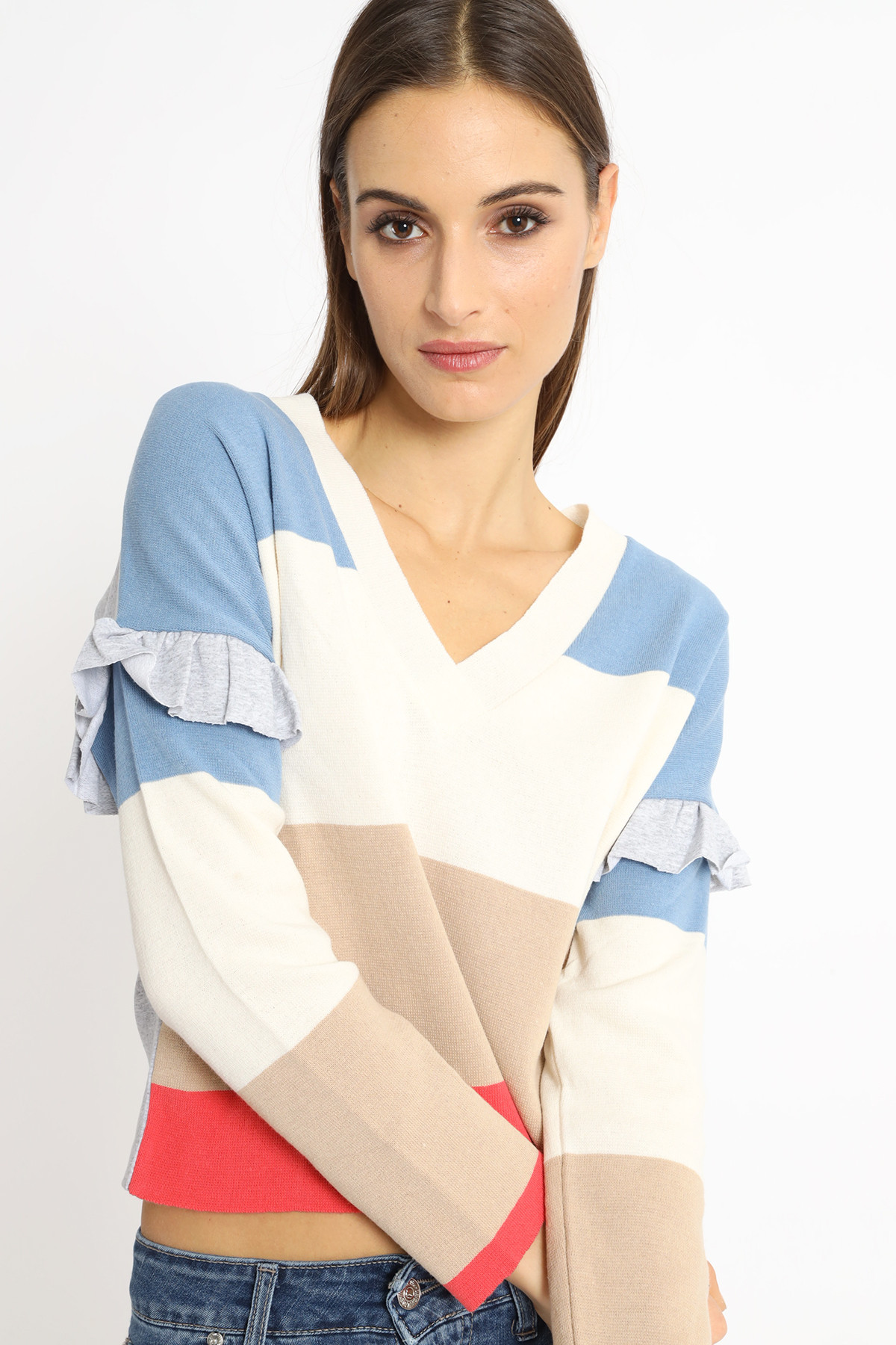 Bimaterial Striped Sweater with Rouge