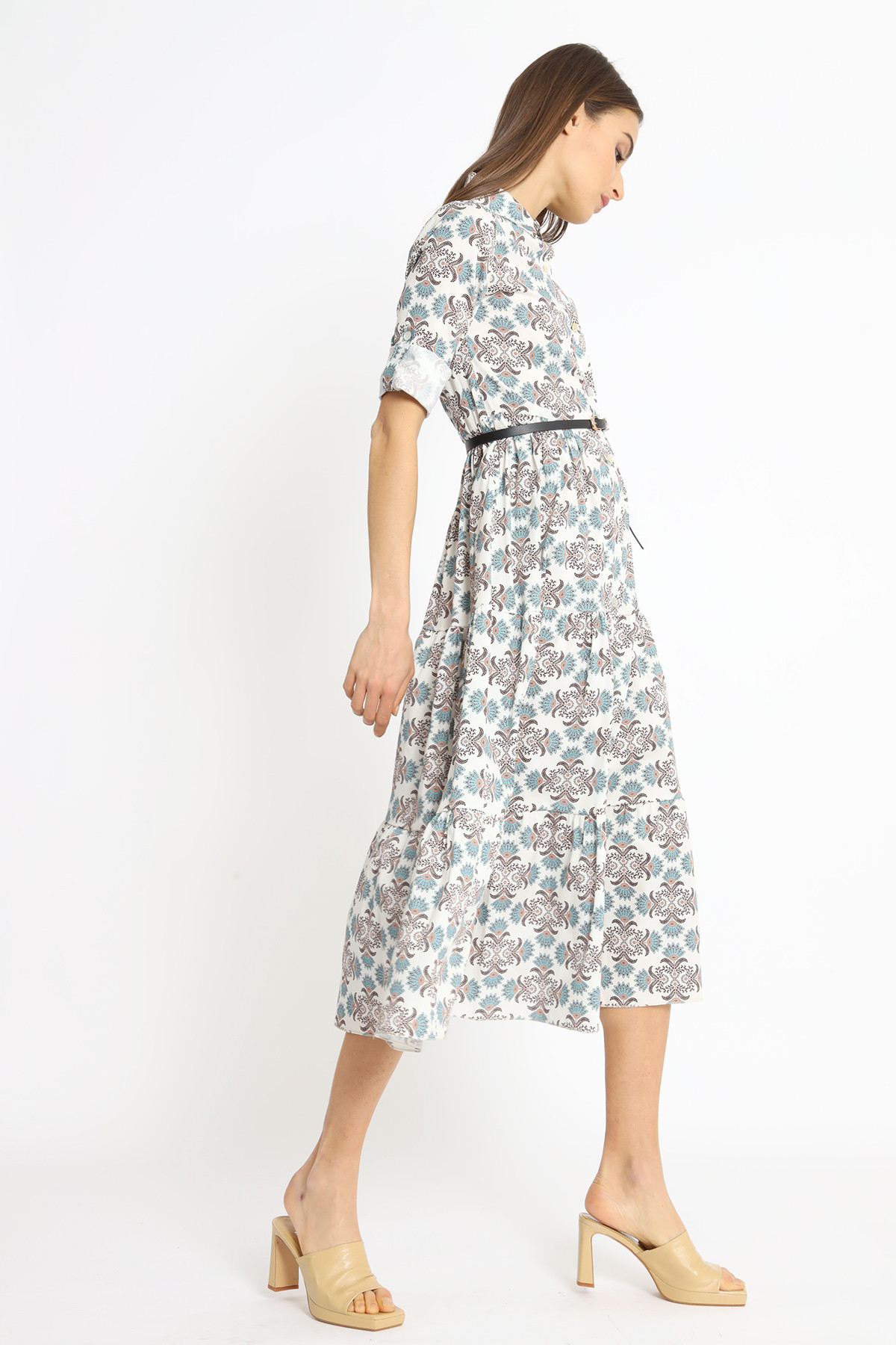 Patterned Poplin Chemisier Dress With Belt