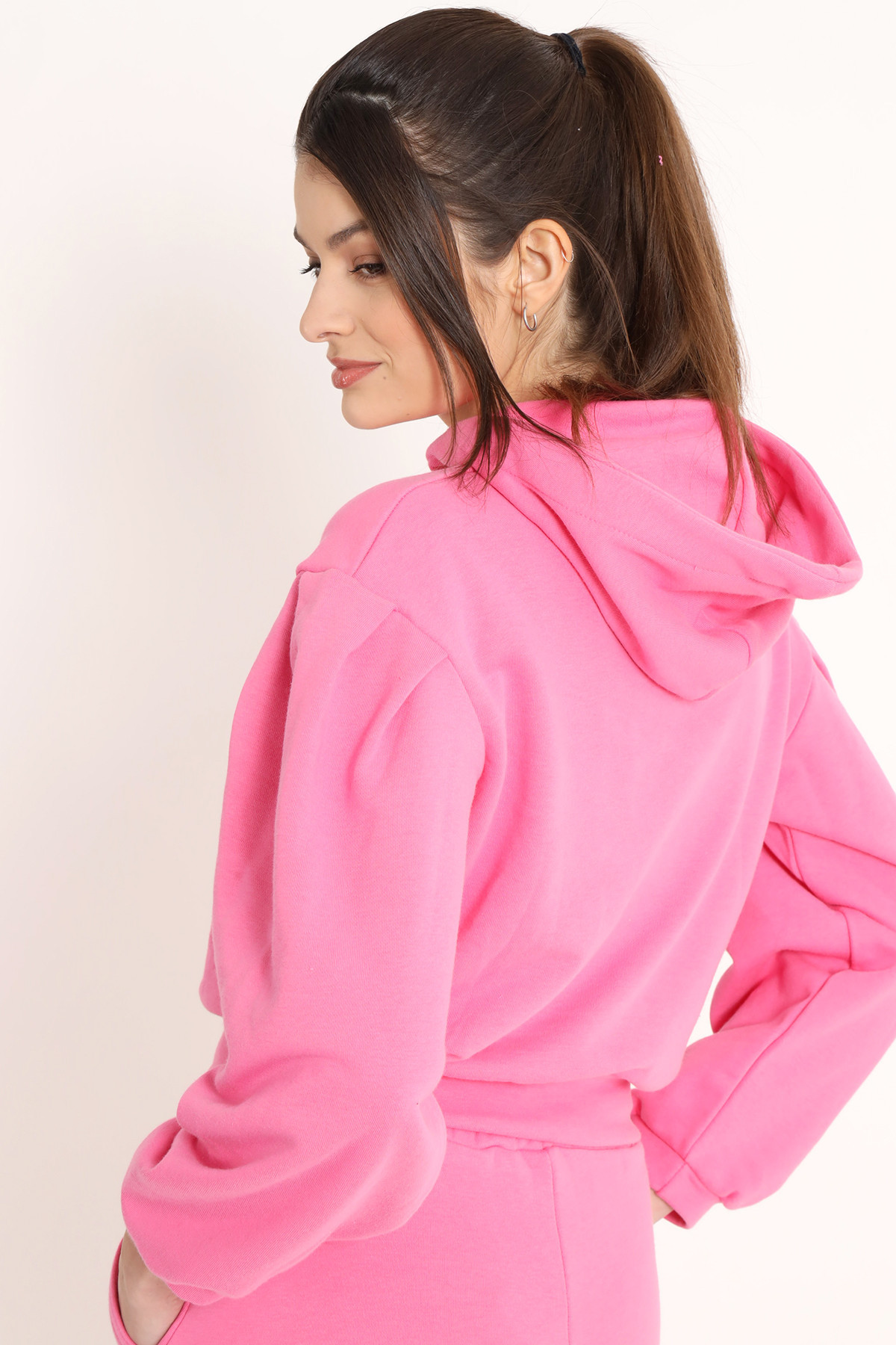 Satin Drawstring Hooded Sweatshirt