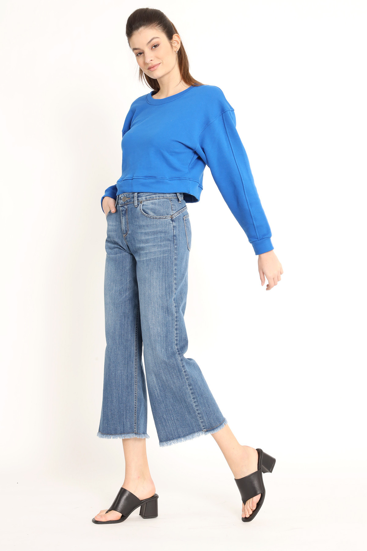 Palazzo Crop Jeans with Fringed Bottom