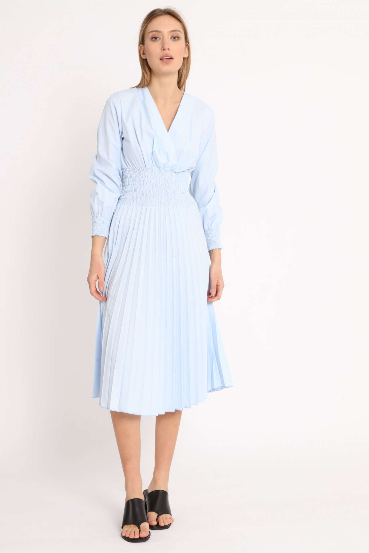Dress With Elastic Waist And Pleated Skirt