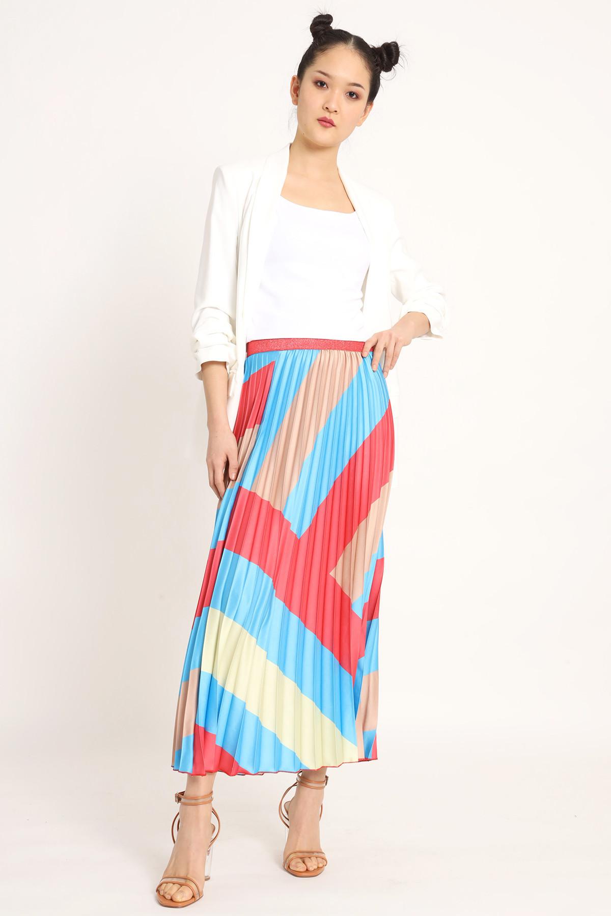 Pleated Satin Skirt in Fantasy