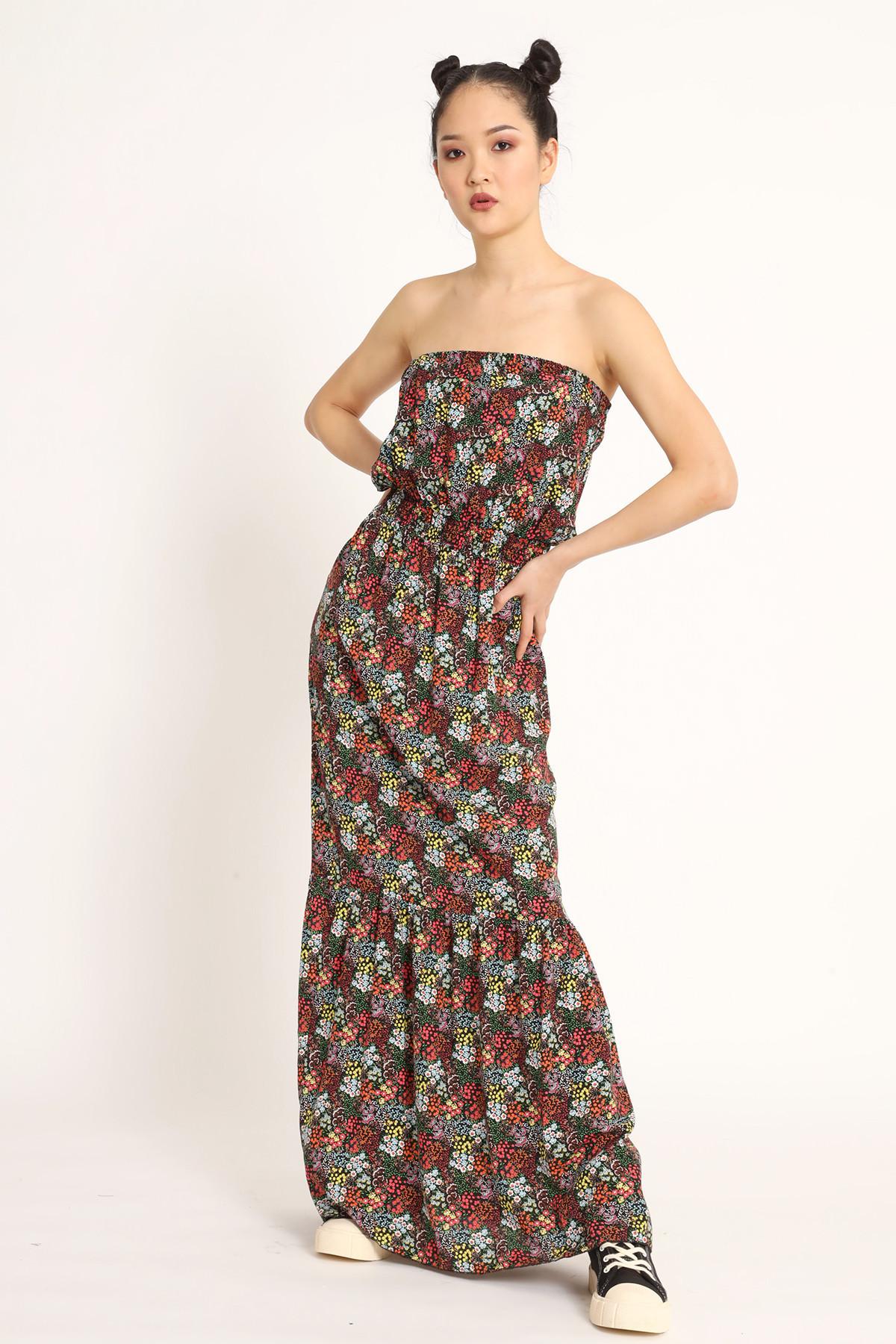 Long Bandeau Dress Flowers