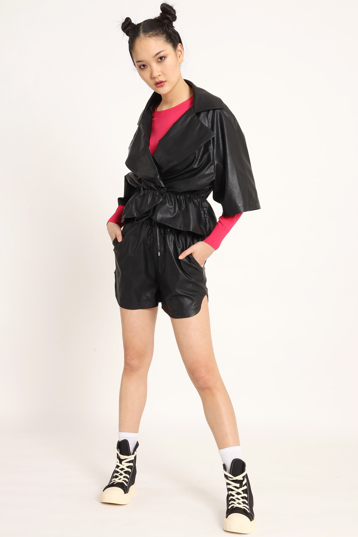 Short Faux Leather With Drawstring