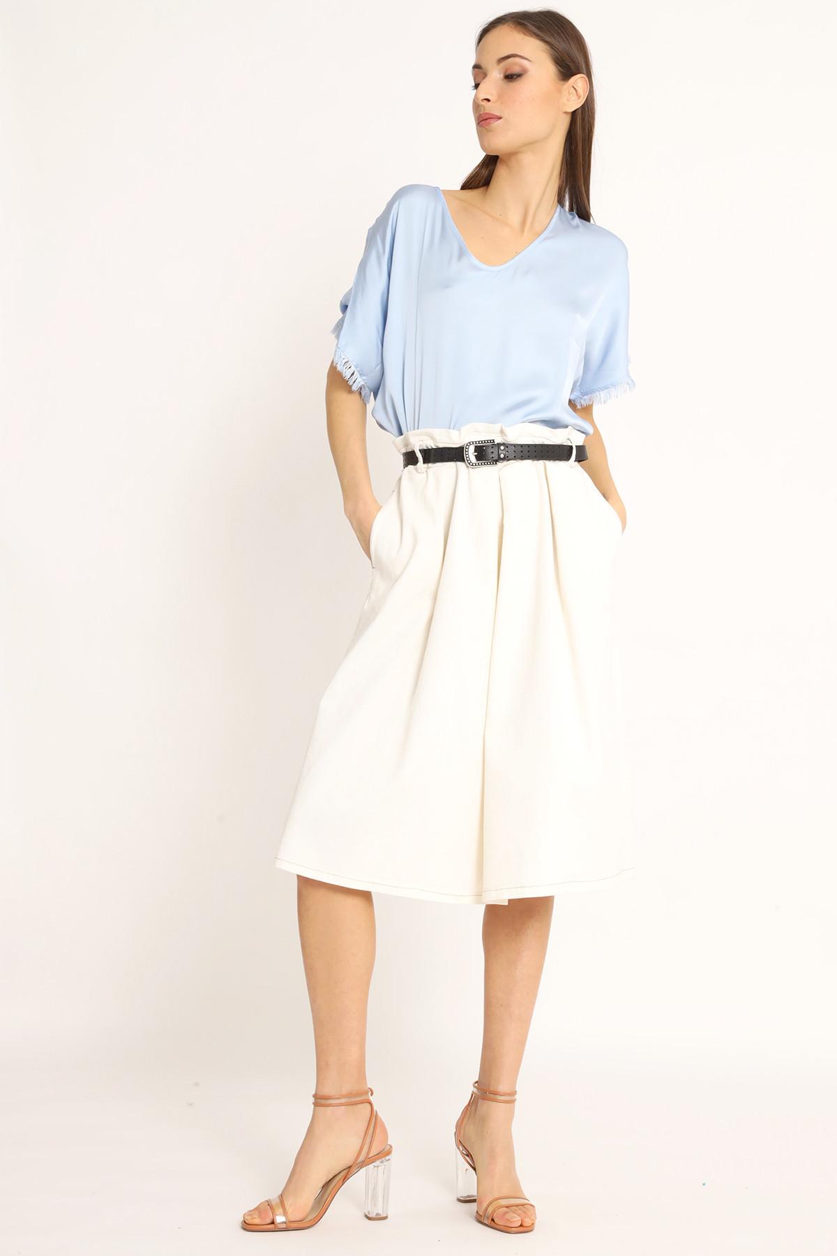 Bull Denim Ruffled Waist Skirt