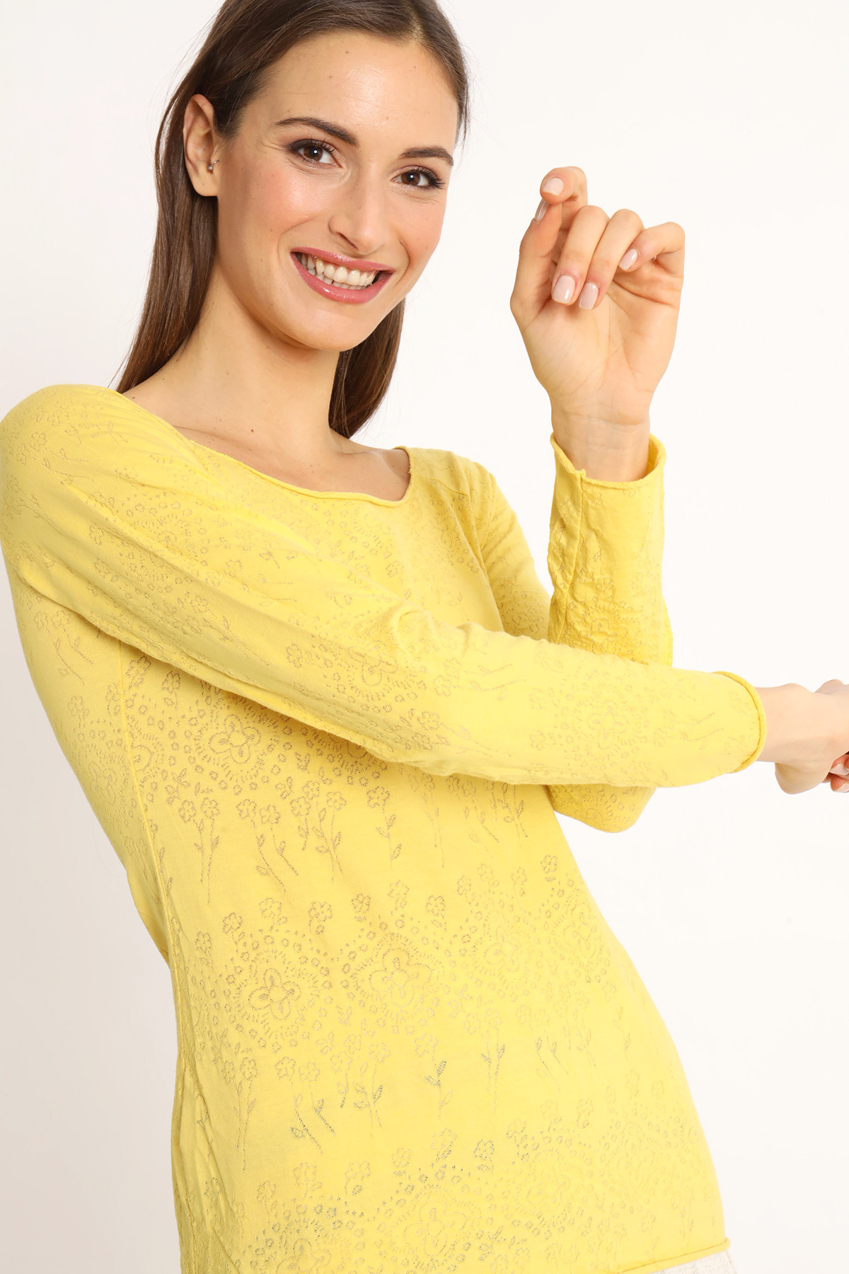 Long Sleeve T-Shirt with Lasered Floral Pattern