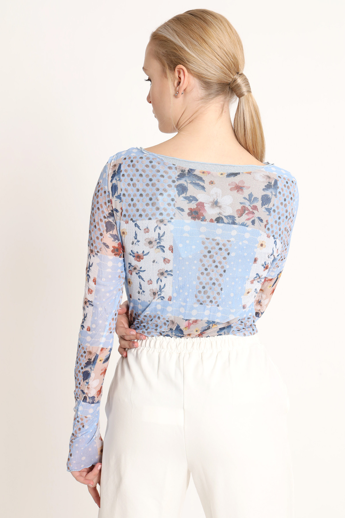 Patchwork Print Tulle Sweater