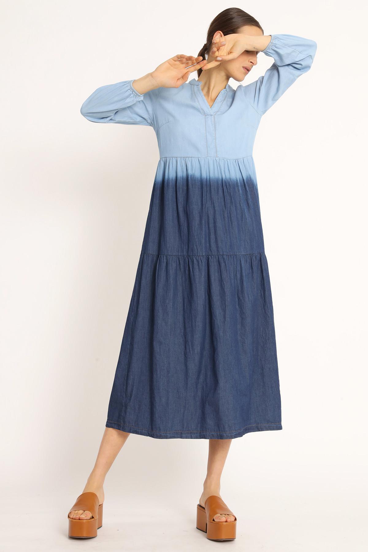 Long Chambray Degradé Dress