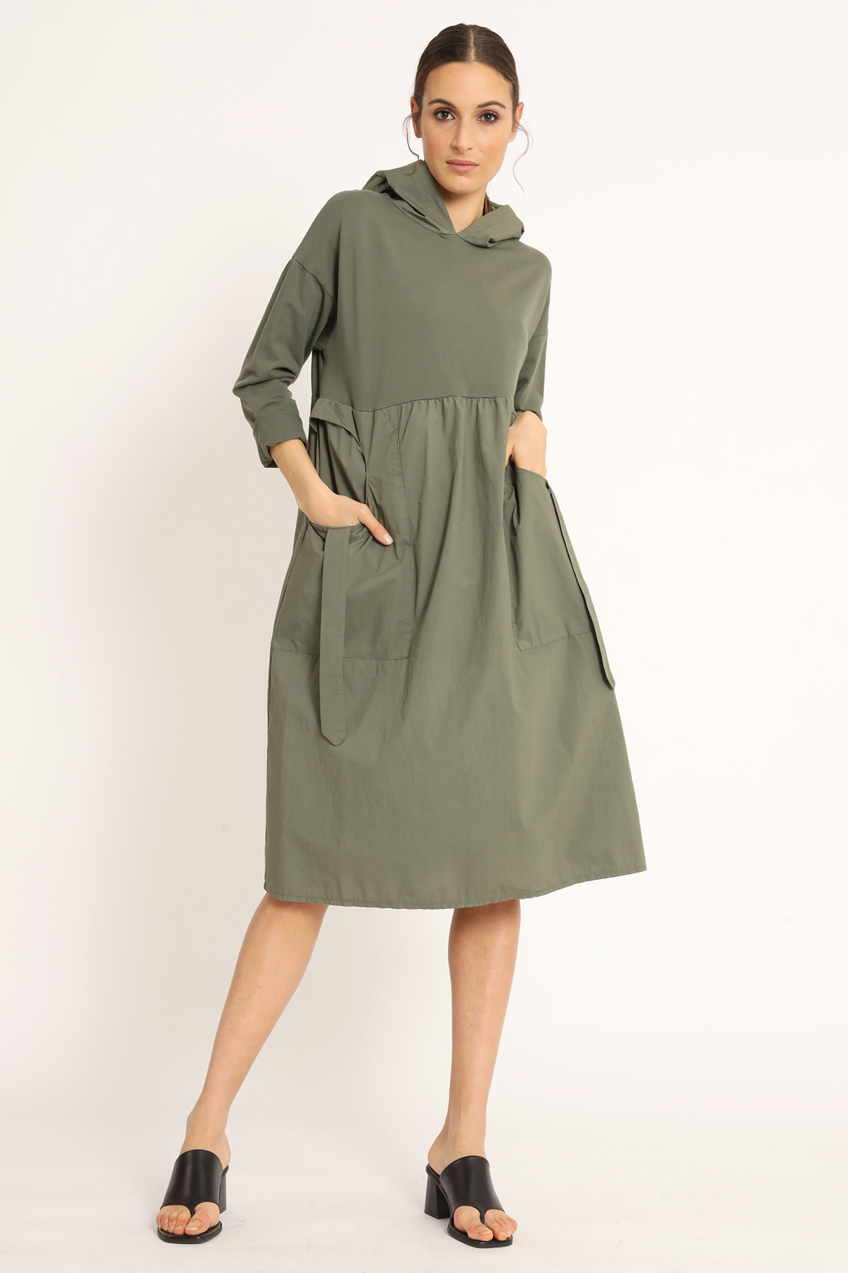 3/4 Sleeve Hooded Dress