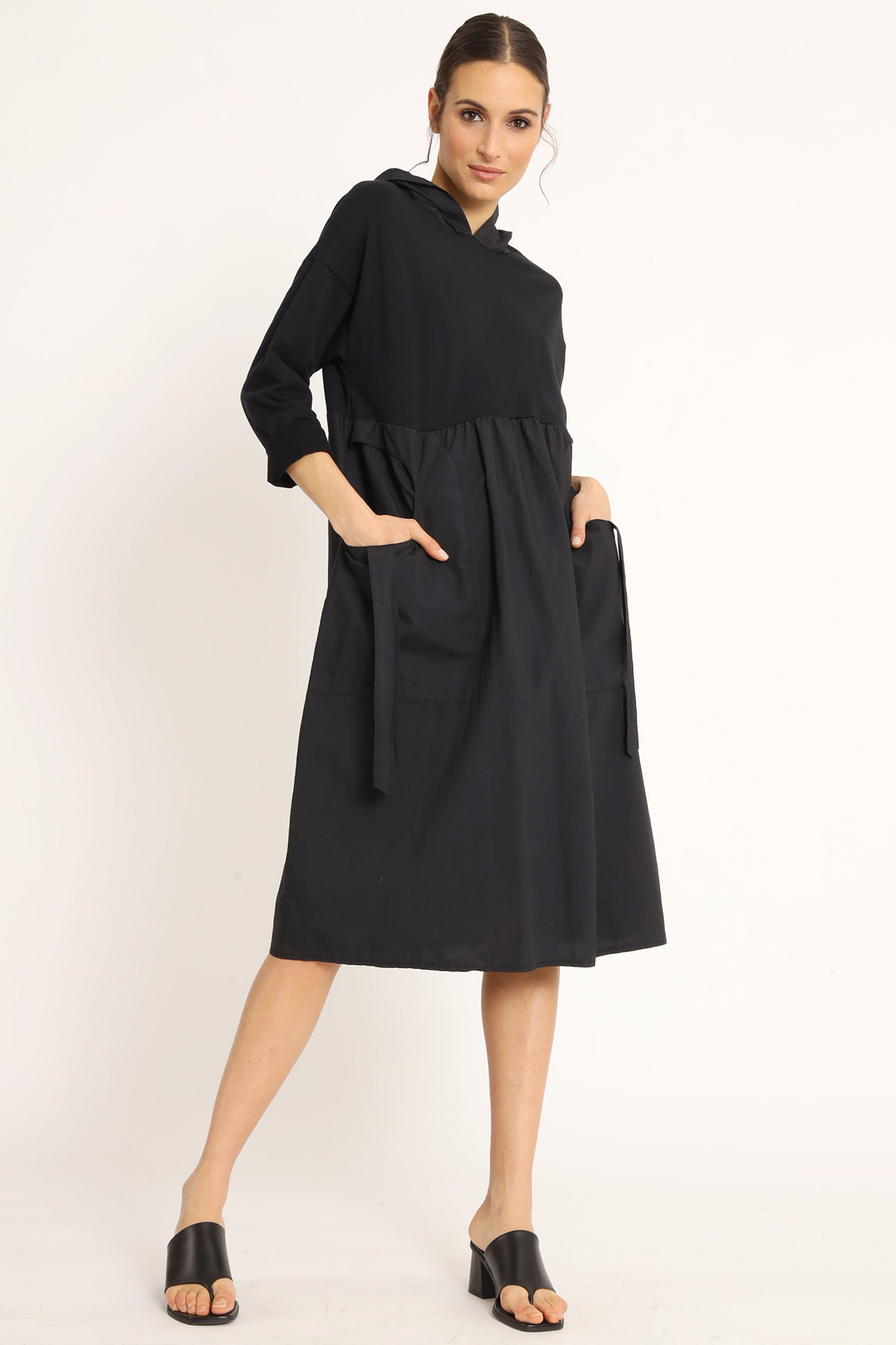 3/4 Sleeve Hooded Dress