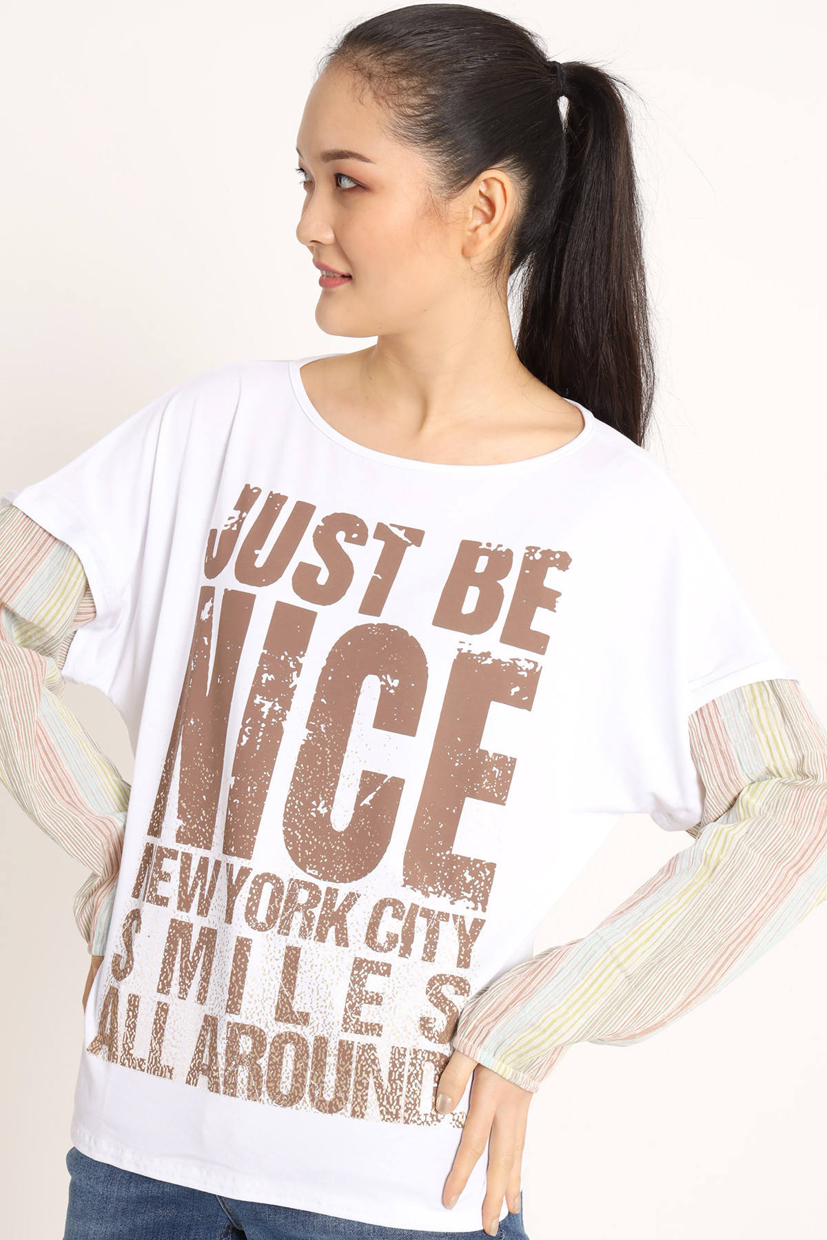 T-Shirt with Print and Viscose Sleeve