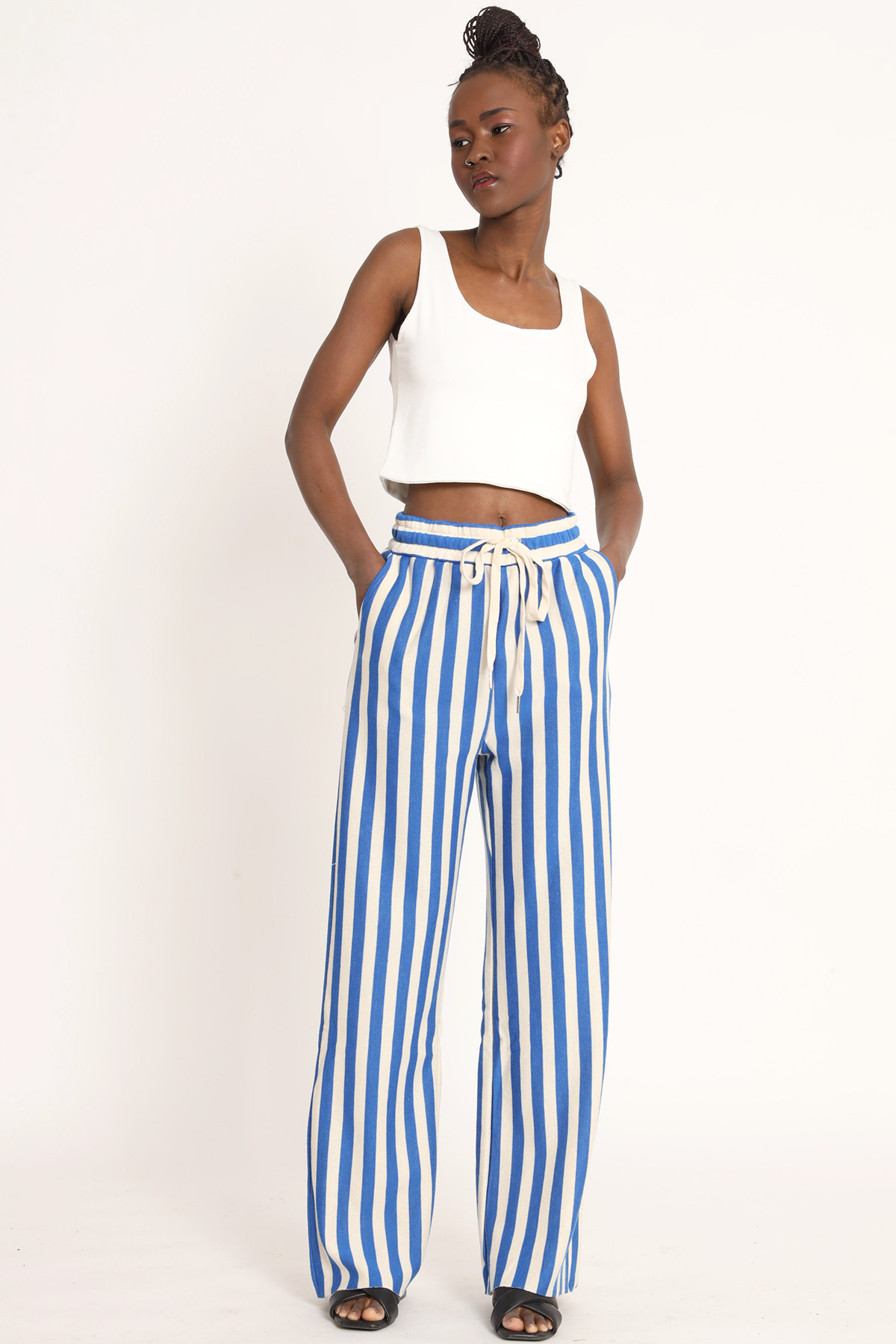 Palazzo Suit Trousers with Striped Drawstring