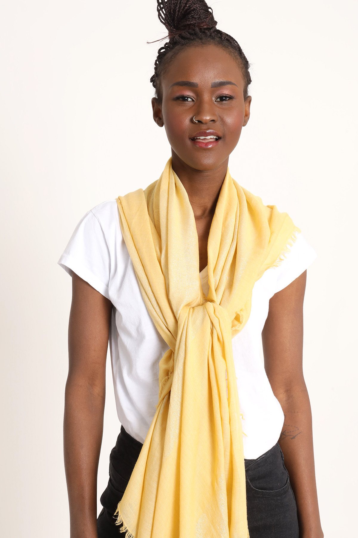 Solid Color Foulard with Lurex