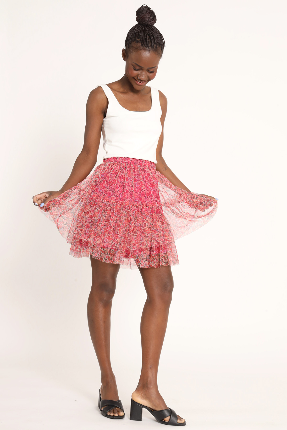 Layered Tulle Mini Skirt with Flowers Print