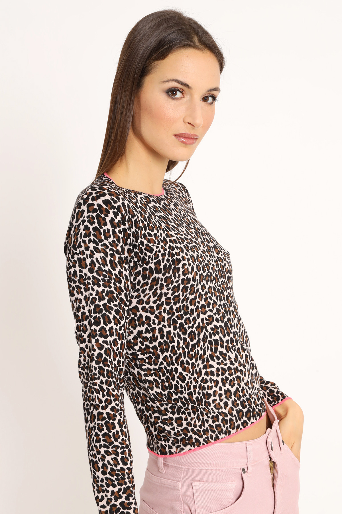 Spotted Print Sweater with Contrast Edge