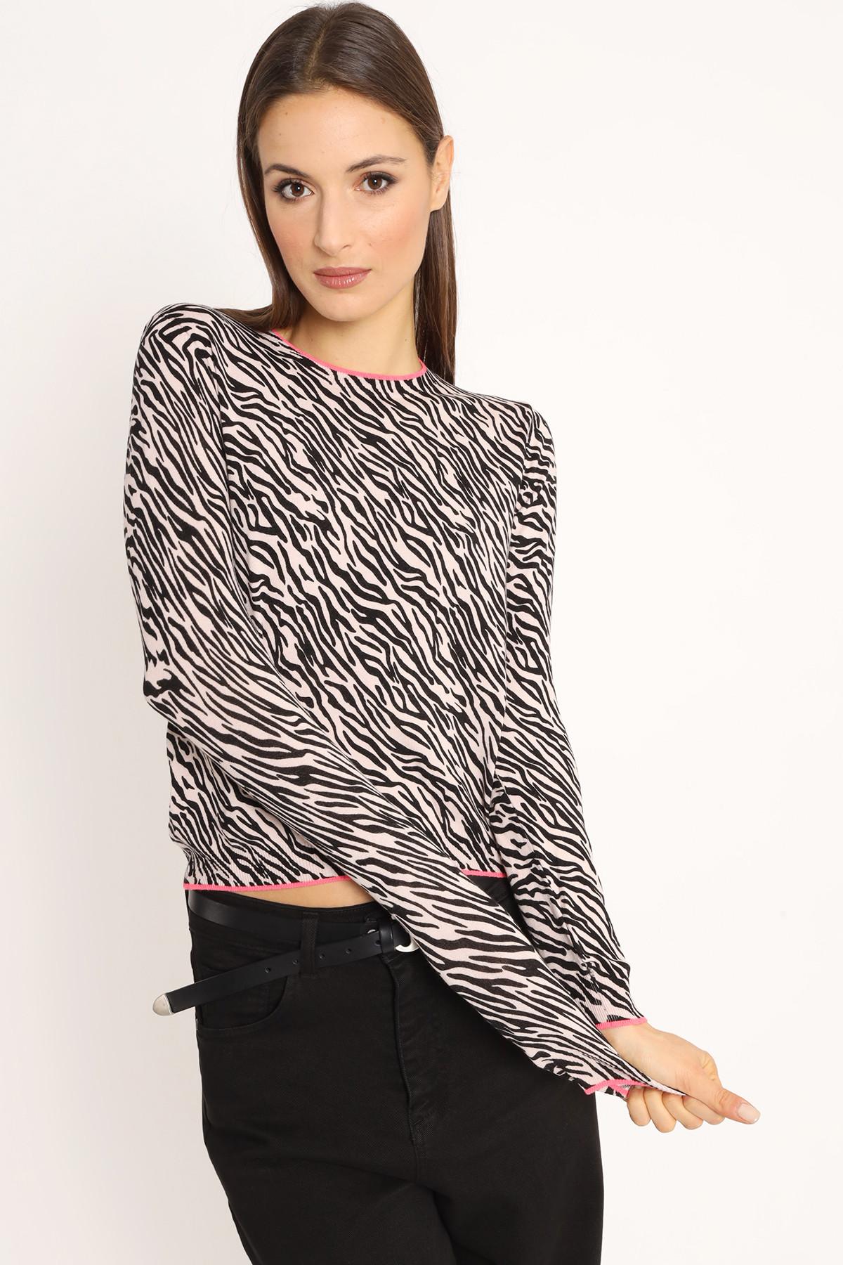 Zebra Print Sweater with Contrast Edges