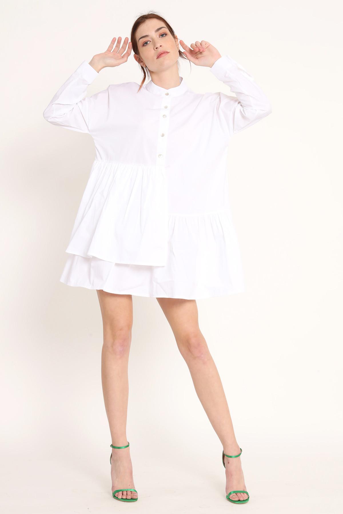 Poplin Shirt Mini Dress with Flounce