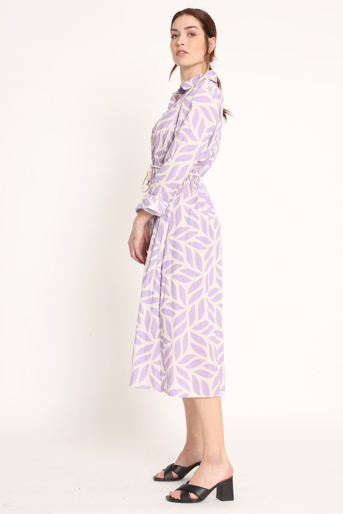 Long Buttoned Dress with Leaf Print