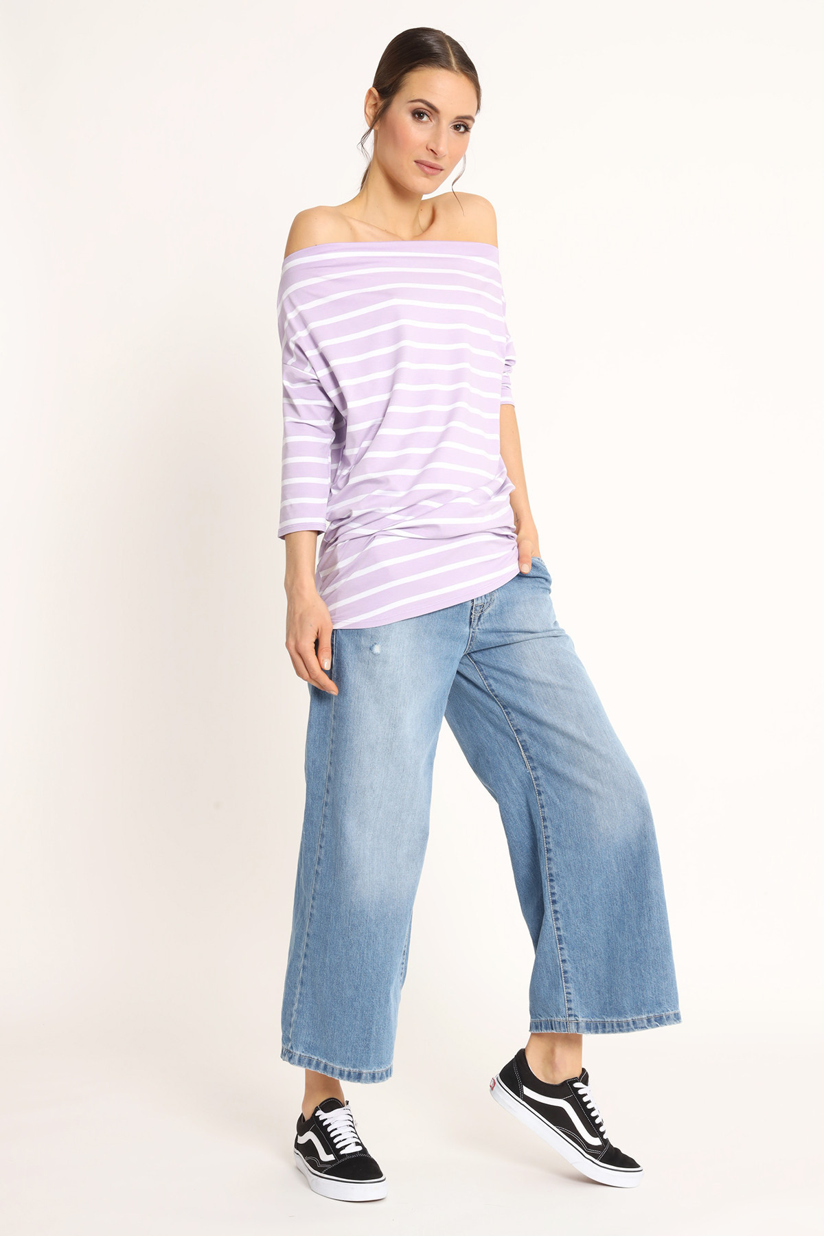 Long Striped Boat Neck T-Shirt in Viscose