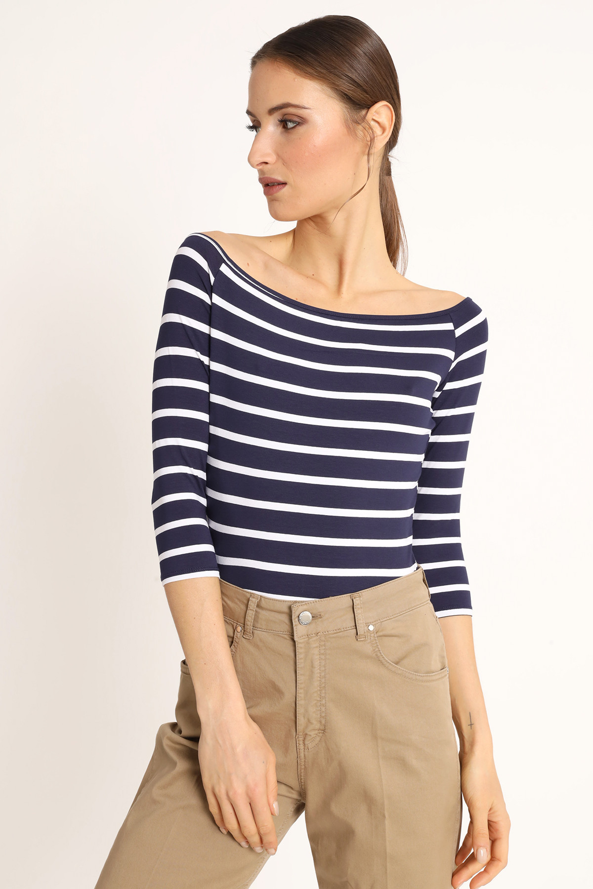 Striped Viscose T-Shirt with Boat Neck
