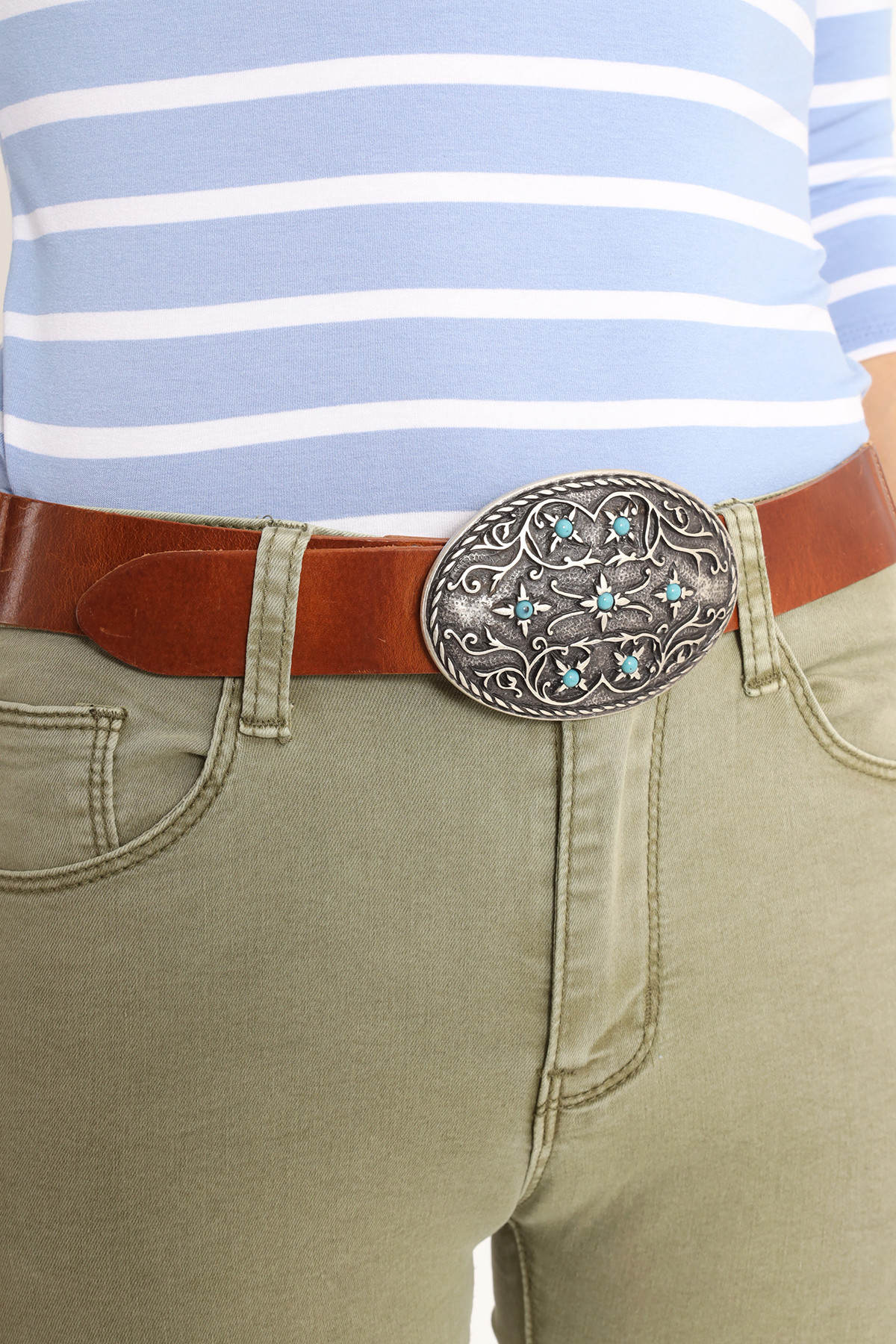 Belt Buckle Oval Aged Printed