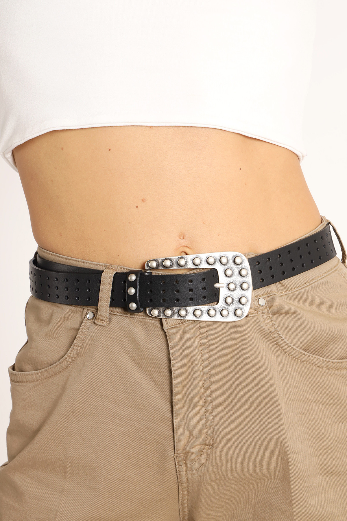 Perforated Belt With Buckle Studs