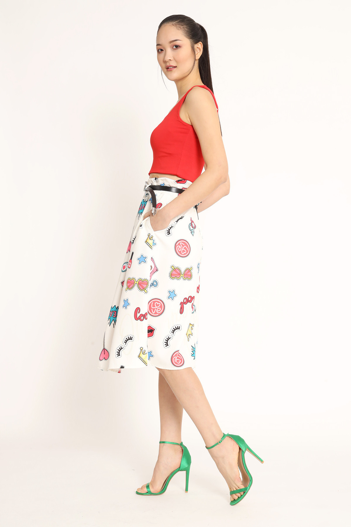 Patch Print Skirt with Belt