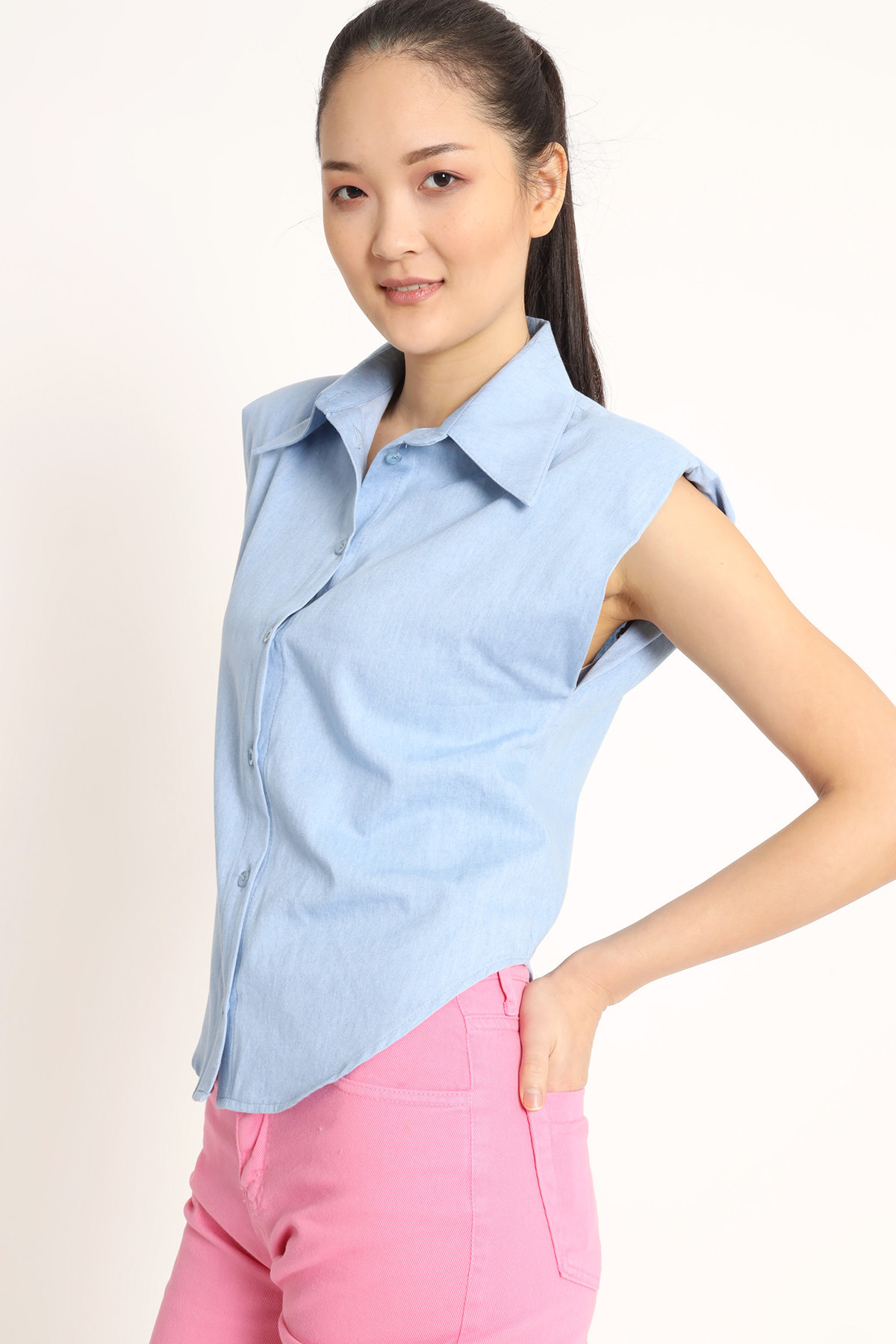 Chambray Sleeveless Shirt with Straps
