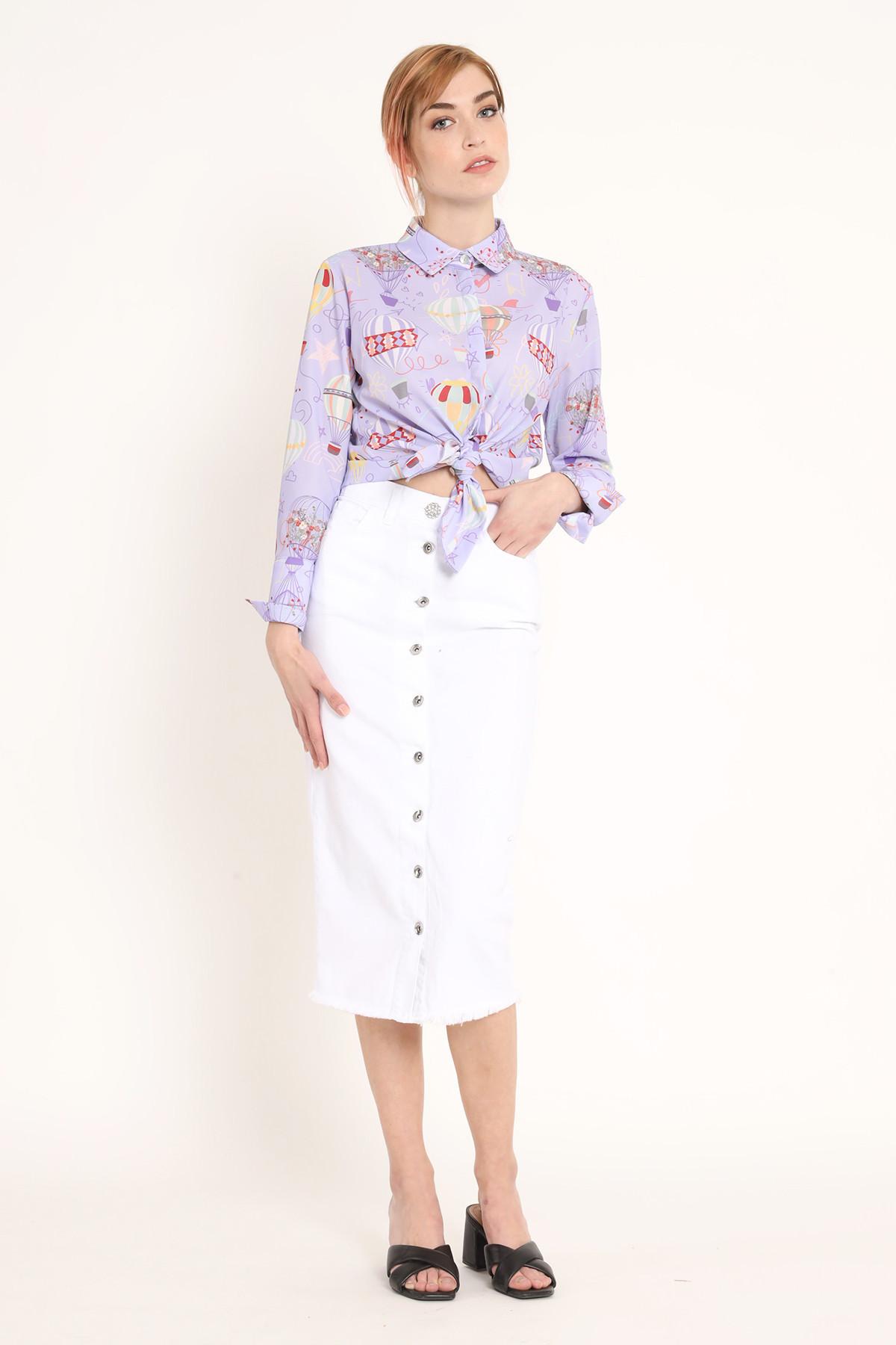 Bull Denim Buttoned Skirt