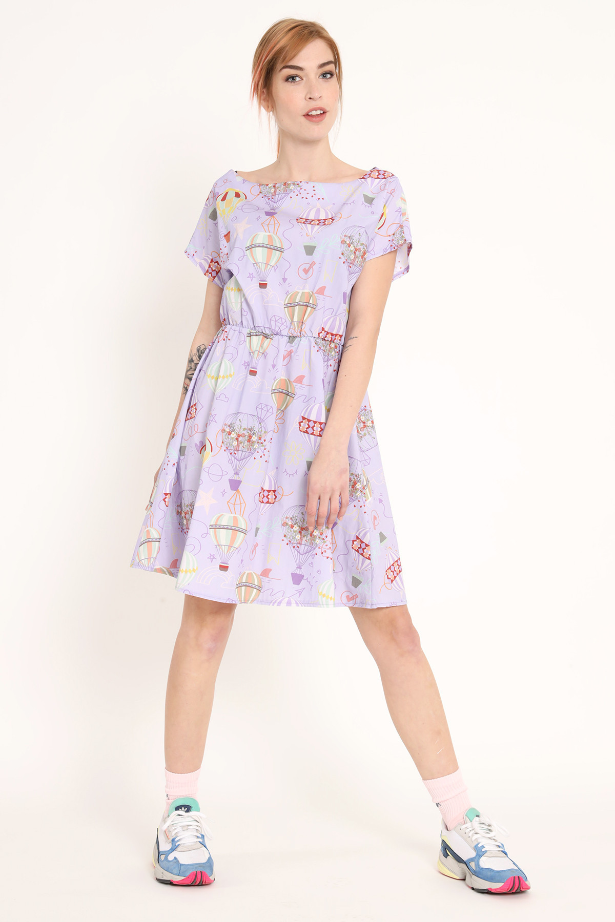 Cotton Dress with Hot Air Balloon Prints