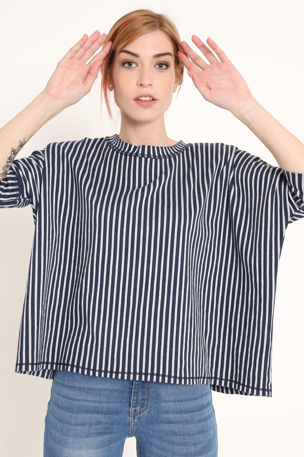 Short Sleeve Striped Sweatshirt