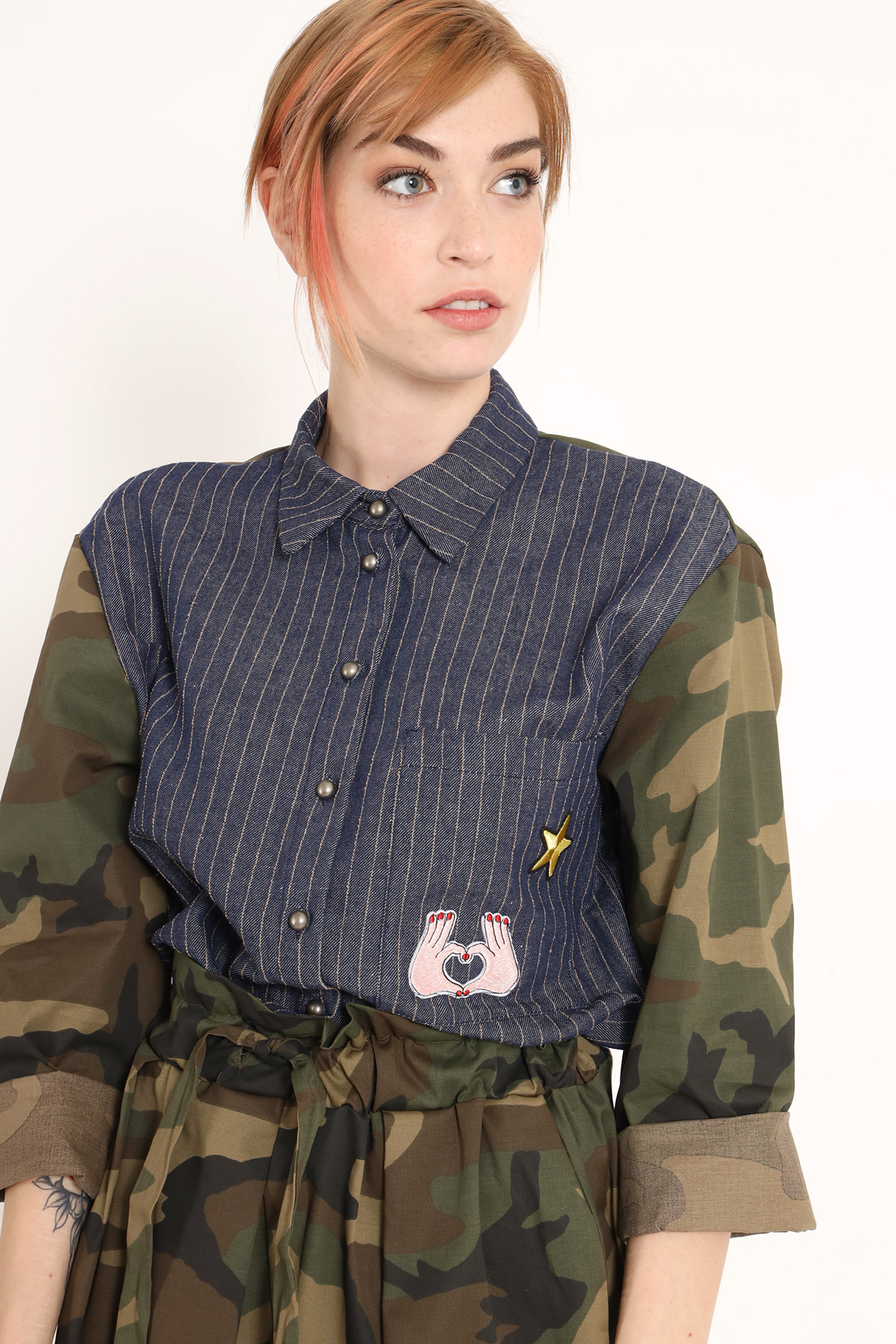 Pinstripe Denim Shirt with Camouflage Sleeves