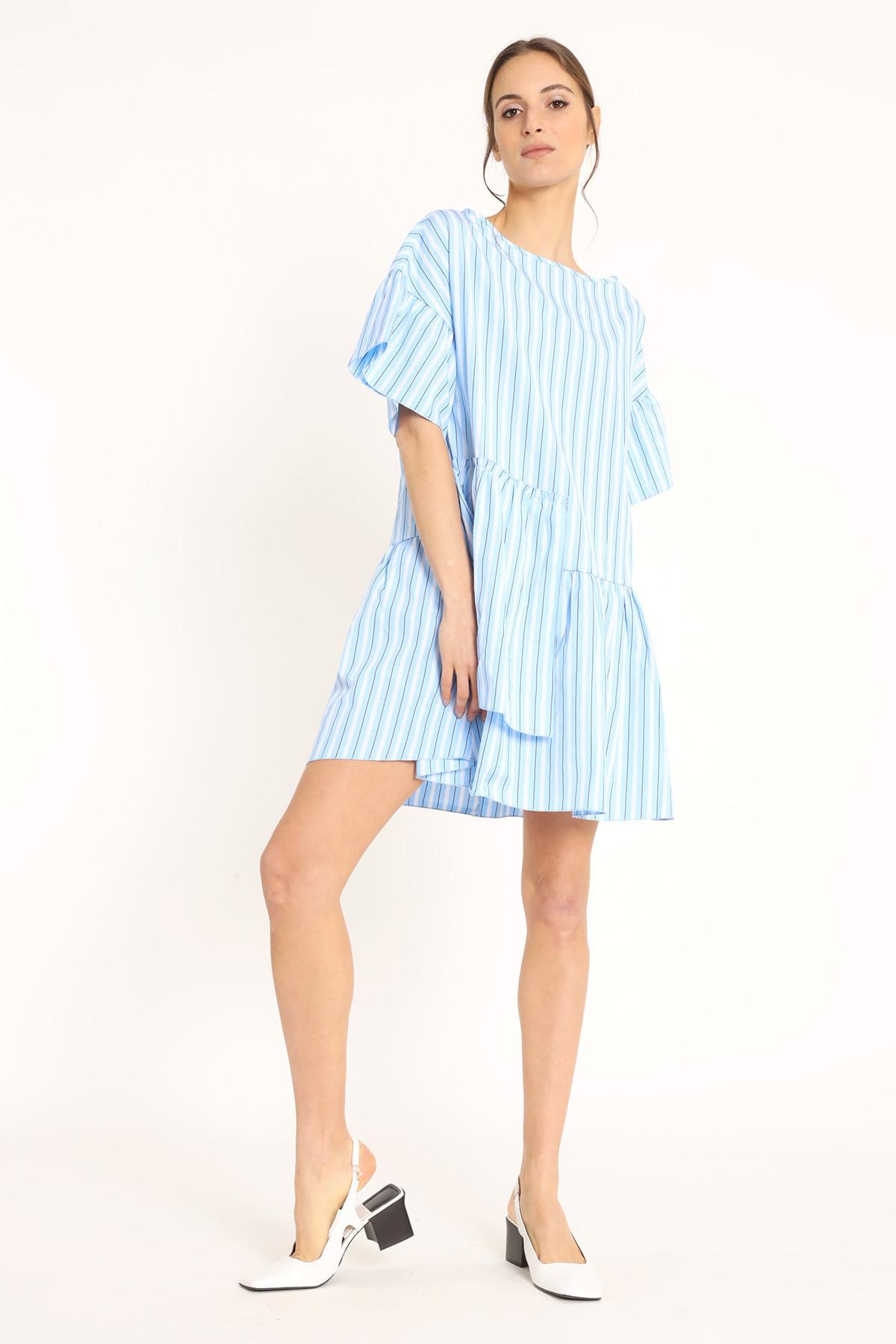 Dress with Pinstripe Flounce
