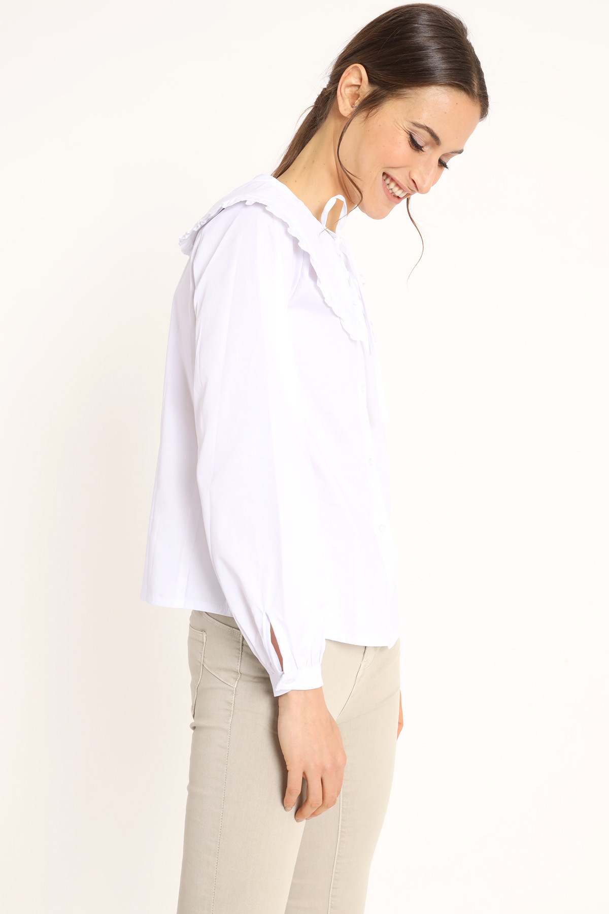 Rouche Collar Shirt with Laces