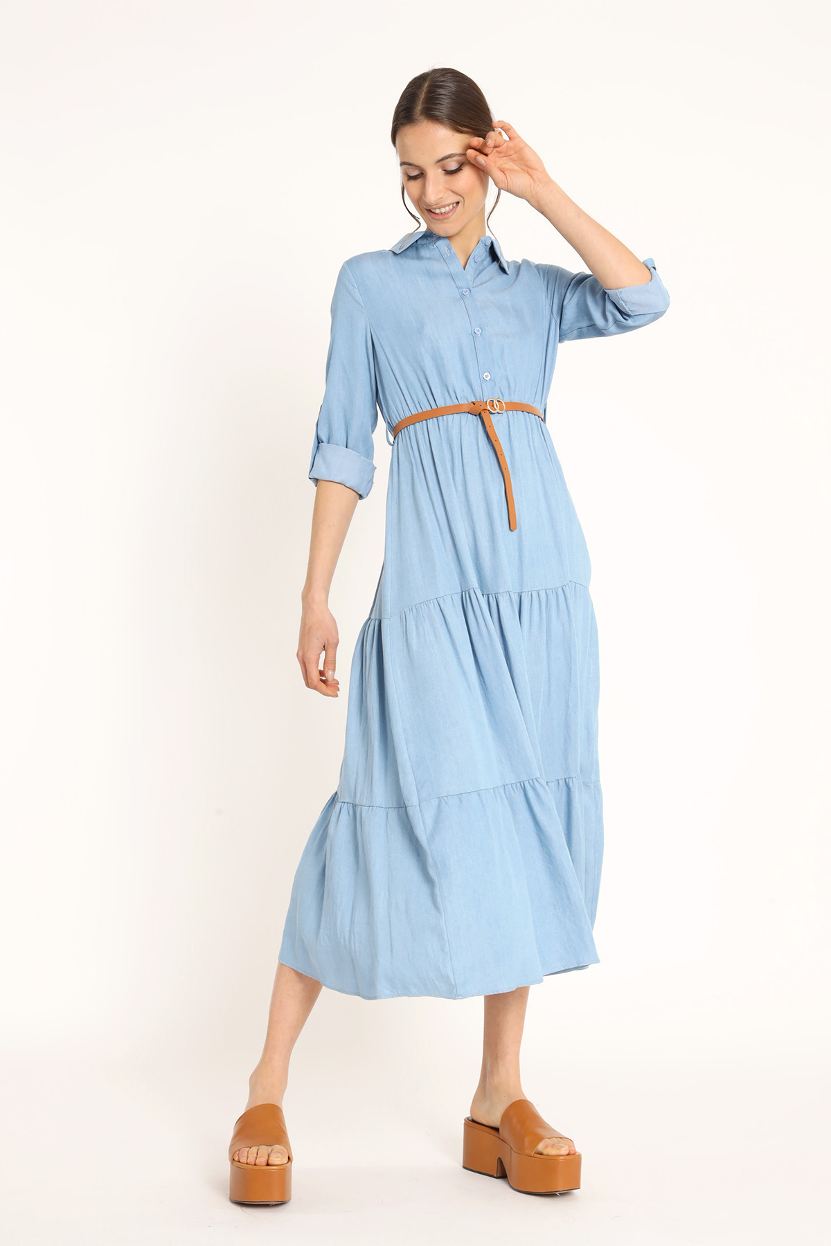 Long Chambray Dress with Flounces