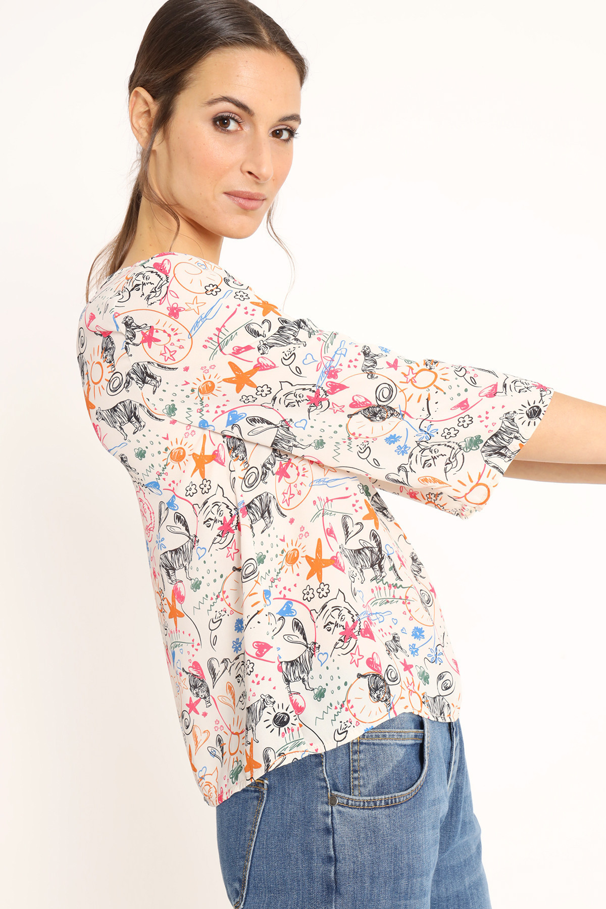 Mural Print Blouse Wide Neckline