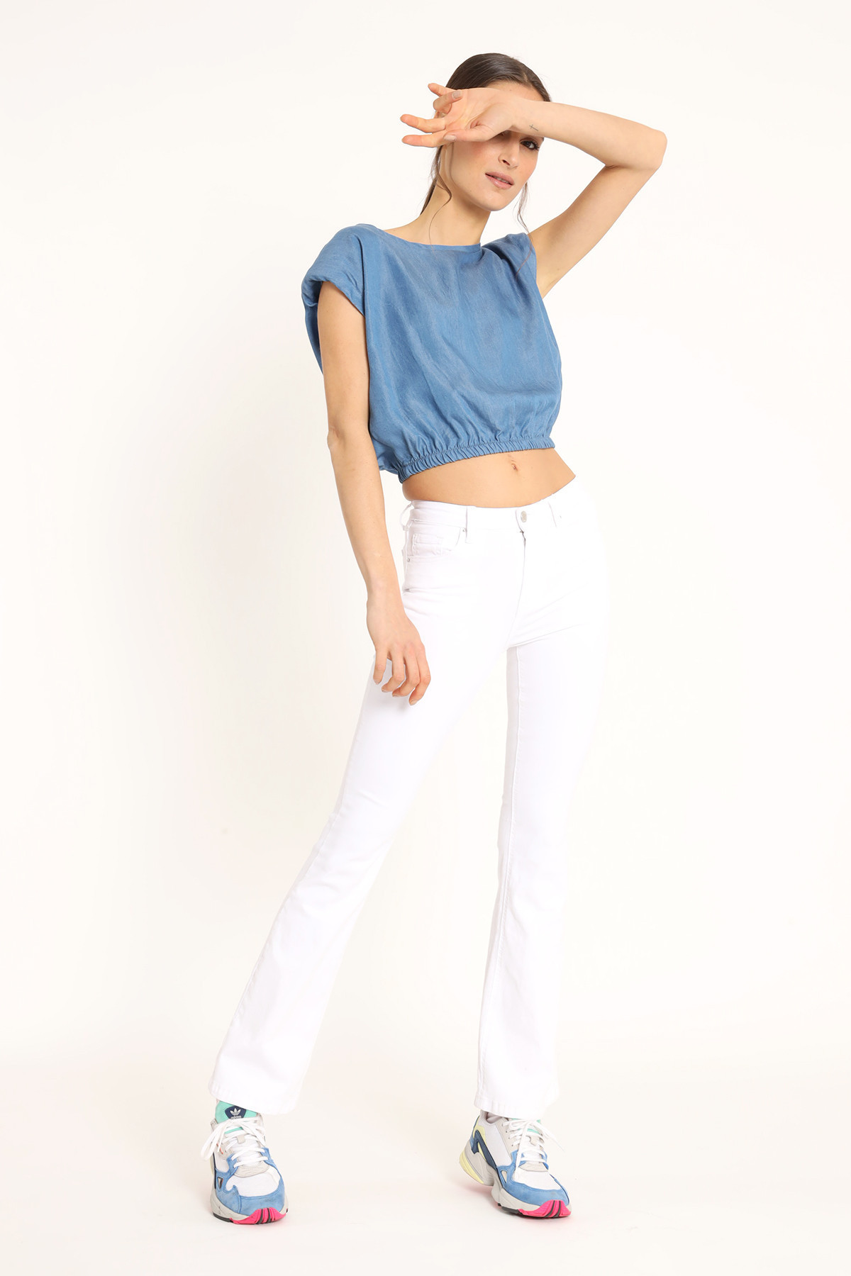 Chambray Crop Top with Straps