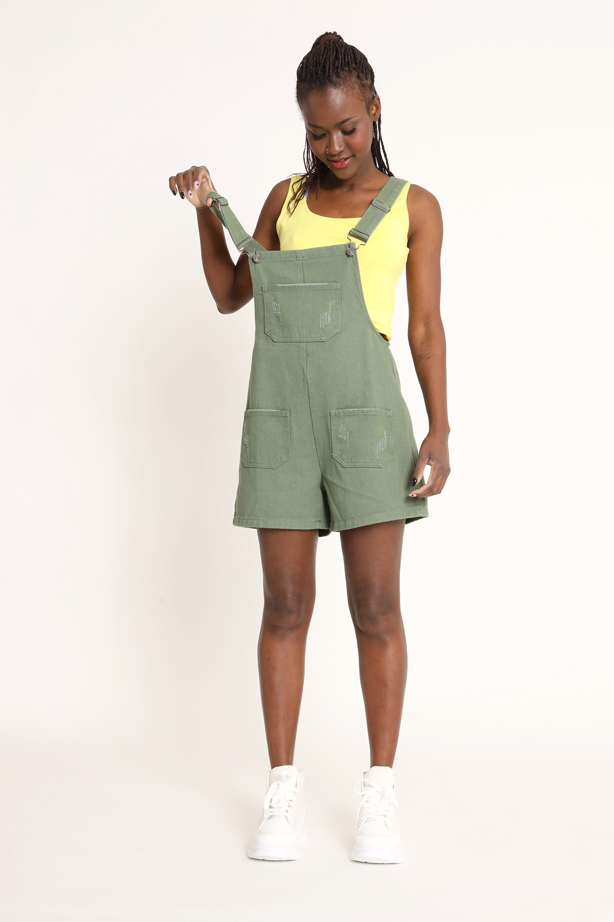 Colored Denim Overalls With Shorts
