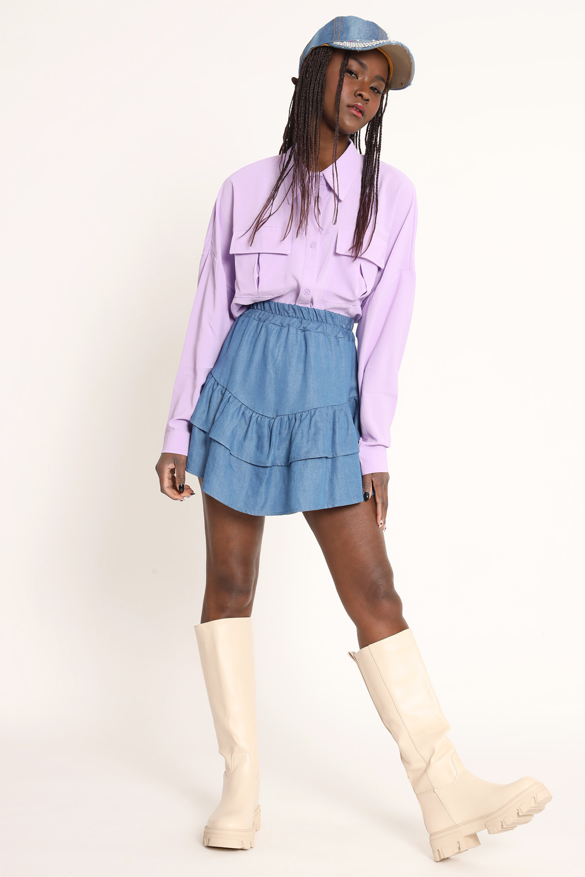 Chambray Miniskirt With Pointed Ruffle