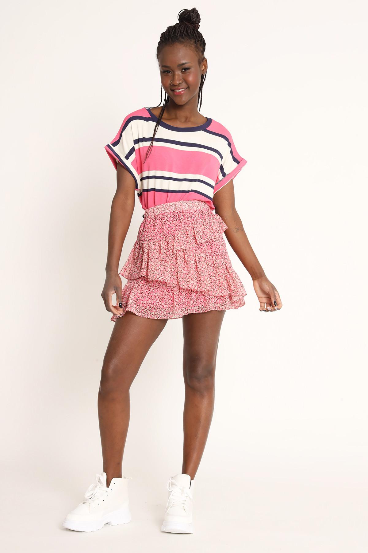Mini Skirt With Flounces Flower Print