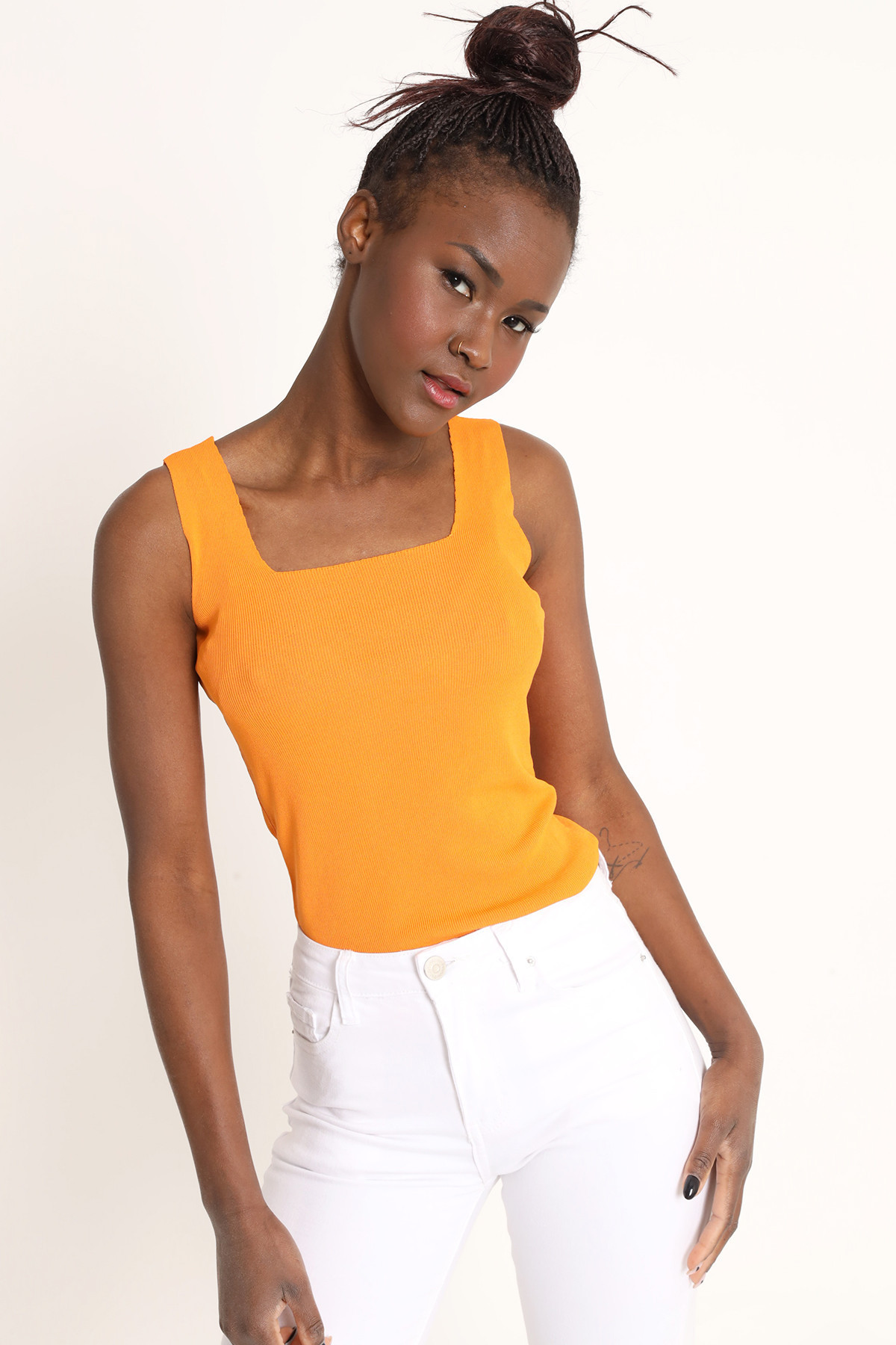 Tank Top with Square Neckline