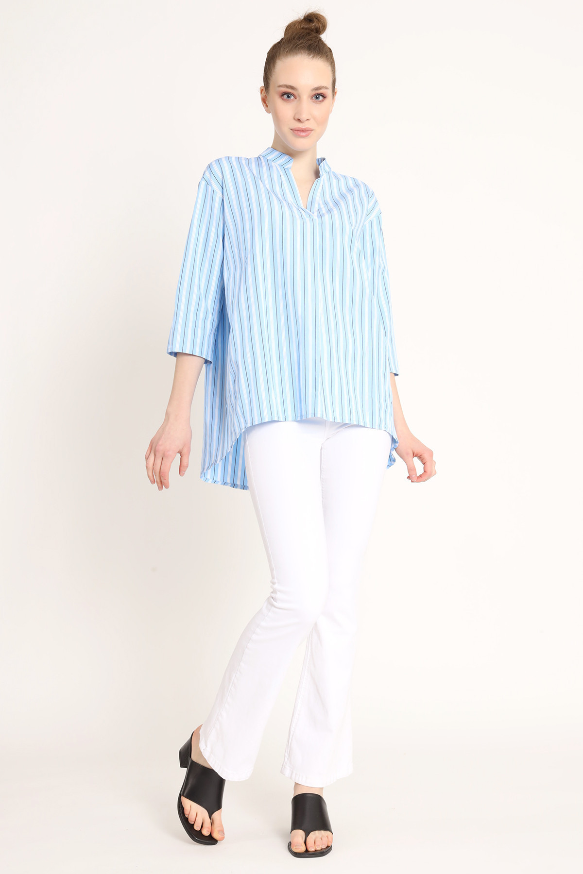 Flared V-Neck Striped Shirt