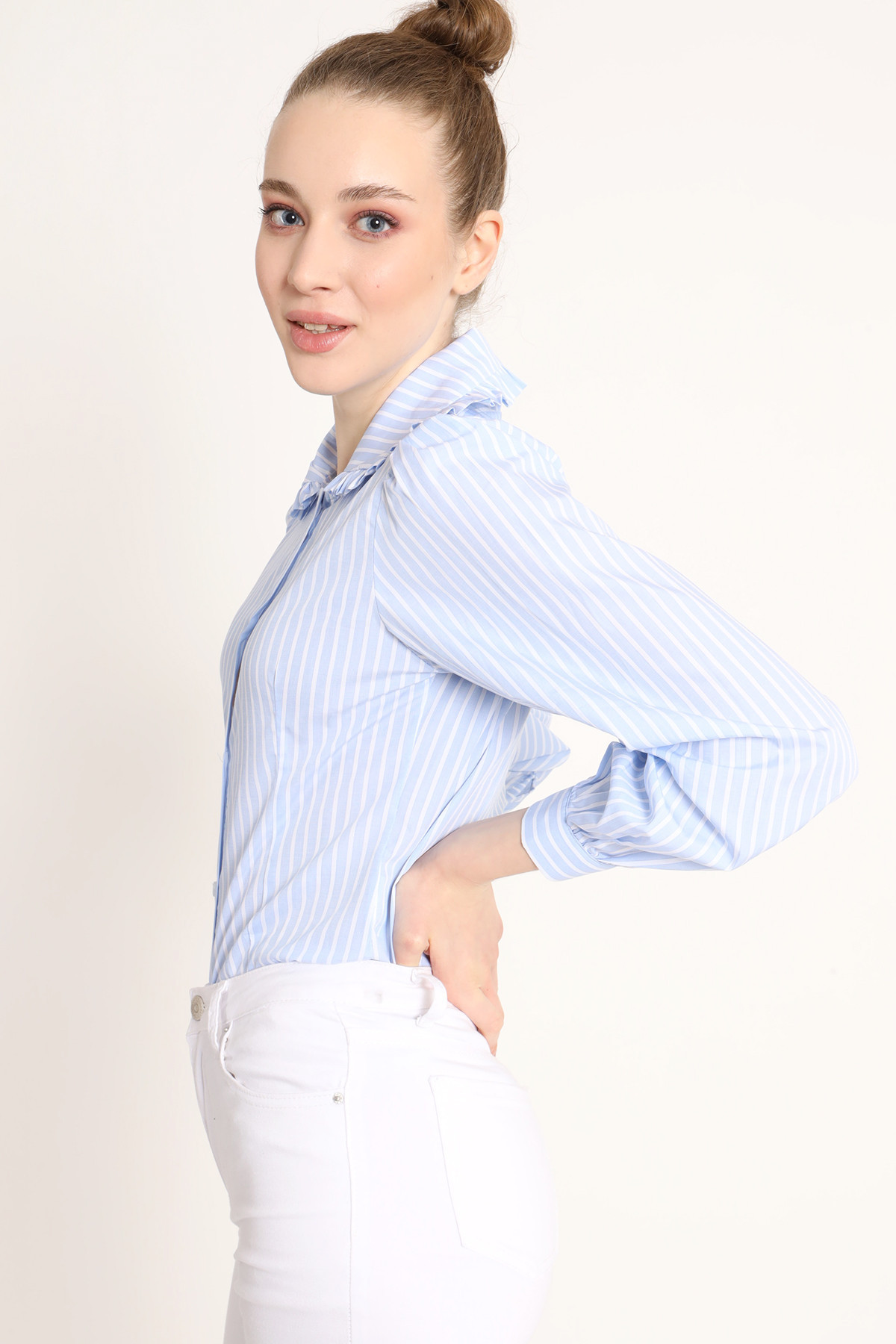 Pinstripe Shirt With Lapel