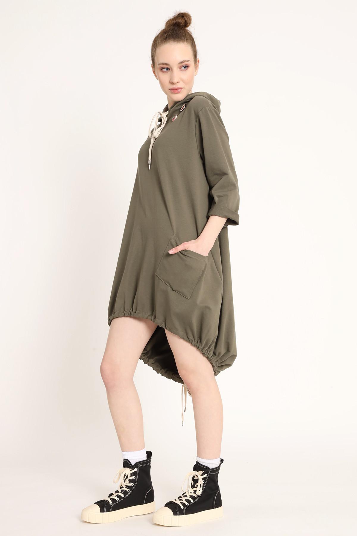 Sweatshirt Dress With Hood and Tail