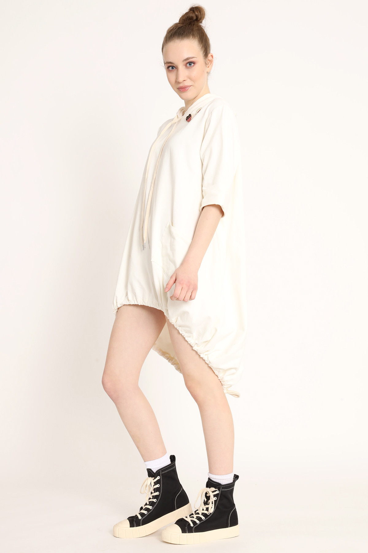 Sweatshirt Dress With Hood and Tail