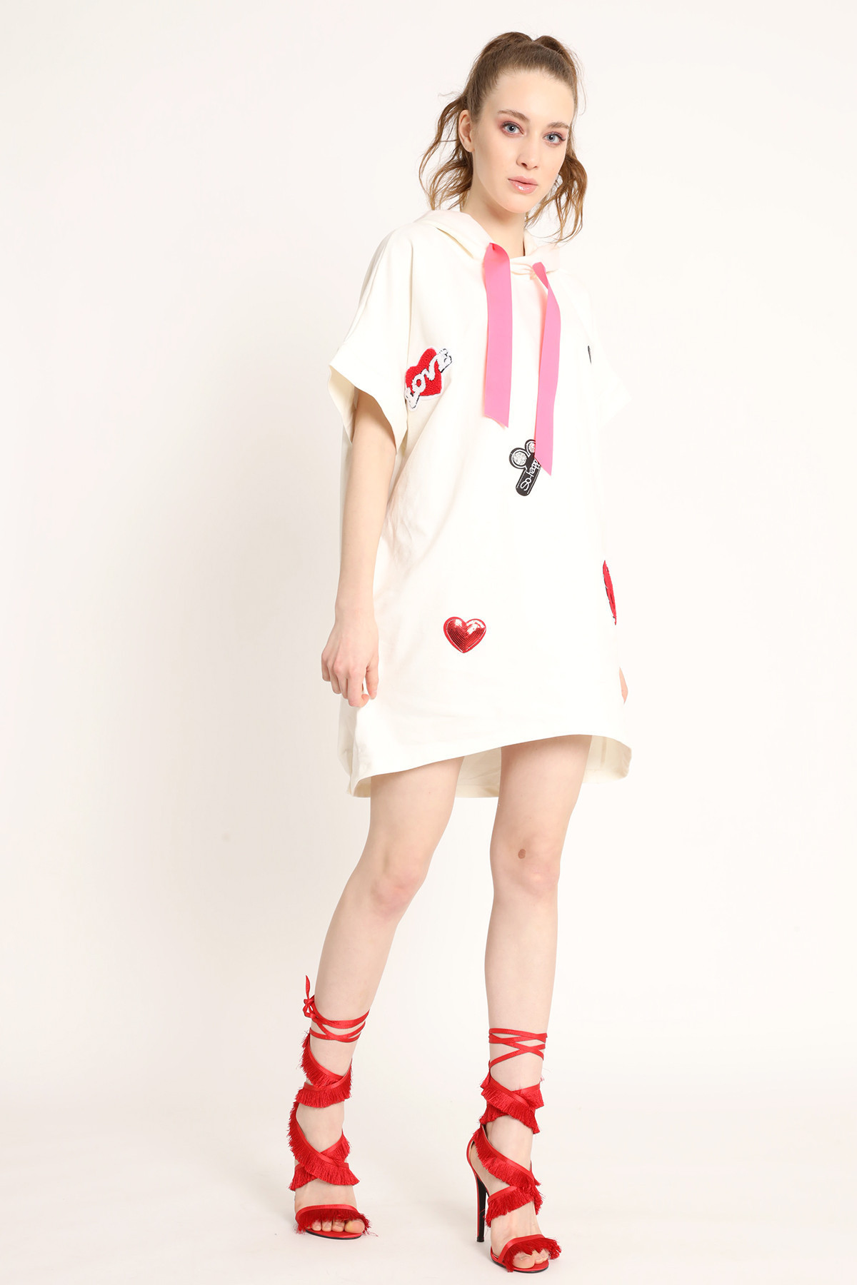 Sweatshirt Dress With Patches